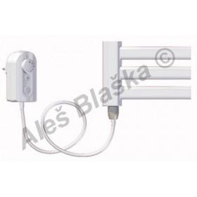 BKM.ER levý Elektrický koupelnový radiátor prohnutý bílý (žebřík)