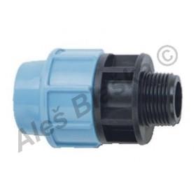 PE (PP-S) spojka přímá s vnějším závitem na polyetylénové trubky (polyš) (svěrná plastová)
