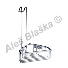 Koupelnová drátěná rohová police s hákem KIBO KI 14003 H - NIMCO (drátěný program)(polička do koupelny)