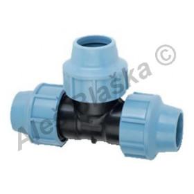 PE (PP-S) spojka T-kus na polyetylénové trubky (polyš) (svěrný plastový)