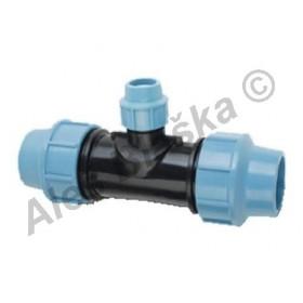 PE (PP-S) spojka T-kus redukovaný na polyetylénové trubky (polyš) (svěrný plastový)