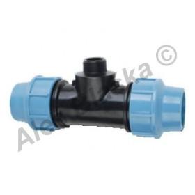 PE (PP-S) spojka T-kus s vnějším závitem na polyetylénové trubky (polyš) (svěrný plastový)