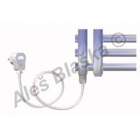 KR.ES levý Elektrický koupelnový radiátor (žebřík) rovný metalická stříbrná