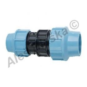 PE (PP-S) spojka přímá redukovaná na polyetylénové trubky (polyš) (svěrná plastová)