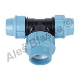 PE (PP-S) spojka T-kus zvětšený střed.výstup na polyetylénové trubky (polyš) (svěrný plastový)