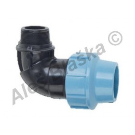 PE (PP-S) spojka koleno 90° s vnějším závitem na polyetylénové trubky (polyš) (svěrné platové)