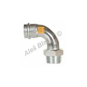 uhlík.ocel koleno 90° přechodové s vnějším závitem FxFil.M , lisovací, PRESS, C-STEEL GAS (plyn)