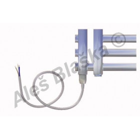 KR.E levý Elektrický koupelnový radiátor (žebřík) rovný metalická stříbrná