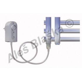 KR.ER levý Elektrický koupelnový radiátor (žebřík) rovný metalická stříbrná