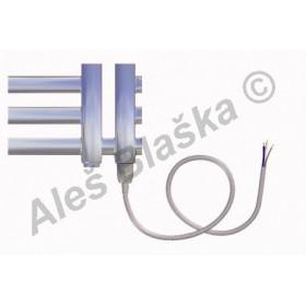 KR.E pravý Elektrický koupelnový radiátor (žebřík) rovný metalická stříbrná