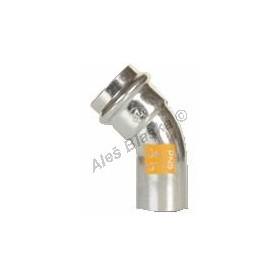 uhlík.ocel oblouk (koleno) 45° MxF , lisovací, PRESS, C-STEEL GAS (plyn)