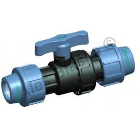 PE (PP-S) spojka uzavírací ventil (kohout) na polyetylénové trubky (polyš) (svěrný plastový)