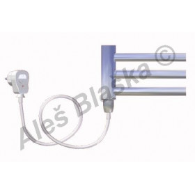 CB.ES levý Elektrický koupelnový radiátor prohnutý CHROM - žebřík