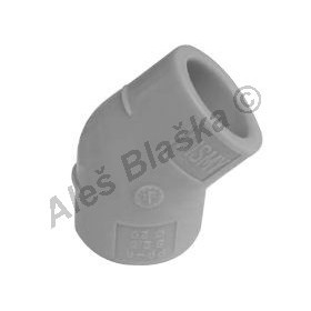 PPR koleno F/F 45° tvarovka plastová navařovací