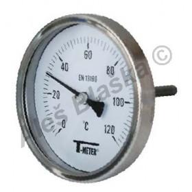 Nerezový teploměr zadní bimetalový s čidlem 100mm, průměr 100mm, INOX, na topení