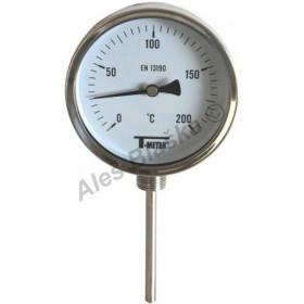Nerezový teploměr spodní bimetalový s čidlem 100mm, průměr 100mm, INOX, na topení