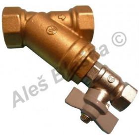Mosazný filtr šikmý Y s vypouštěcím ventilem - nerez.sítko (nerezovou vložkou) MOSAZ