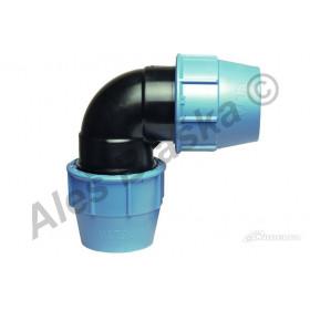 PE (PP-S) spojka koleno 90° na polyetylénové trubky (polyš) (svěrné plastové)