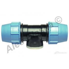 PE (PP-S) spojka T-kus s vnitřním závitem na polyetylénové trubky (polyš) (svěrný plastový)