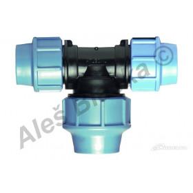 PE (PP-S) spojka T-kus zvětšený středový výstup na polyetylénové trubky (polyš) (svěrný plastový)