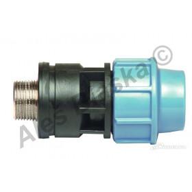 PE (PP-S) spojka přechod vnější kovový závit na polyetylénové trubky (polyš) (svěrný plastový)
