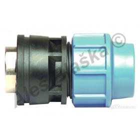PE (PP-S) spojka přechod vnitřní kovový závit na polyetylénové trubky (polyš) (svěrná plastová)