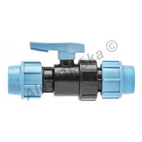 PE (PP-S) spojka kulový kohout (ventil) na polyetylénové trubky (polyš)(svěrný plastový)