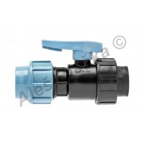 PE (PP-S) spojka kulový kohout (ventil) s vnitřním závitem na polyetylénové trubky (polyš)(svěrný plastový)