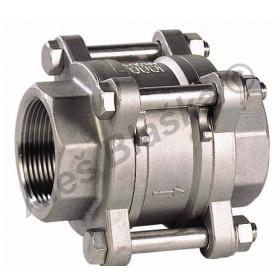Nerezová zpětná klapka UNIVERZÁLNÍ s pružinkou 3dílná - NEREZ - INOX (zpětný ventil)