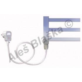 AV.ES levý Elektrický koupelnový radiátor rovný metalická stříbrná (žebřík)